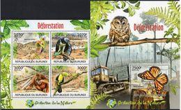 BURUNDI 2012 - Protection De La Nature, Oiseaux, Papillons - 4 Val + BF Neufs // Mnh - Burundi