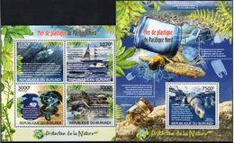 BURUNDI 2012 - Protection De La Nature, Bateaux, Tortues, Pollution Des Océans - 4 Val + BF Neufs // Mnh - Burundi