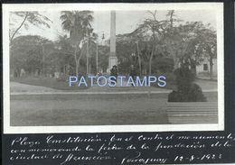 84112 PARAGUAY ASUNCION SQUARE PLAZA CONSTITUCION & MONUMENTO AÑO 1923 POSTAL POSTCARD - Paraguay