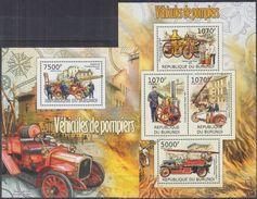 BURUNDI 2012 - Transports, Anciens Véhicules De Pompiers - 4 Val + BF Neufs // Mnh - Burundi