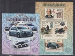 BURUNDI 2012 - Transports, Voitures Opel, Vélos - 4 Val + BF Neufs // Mnh - Burundi