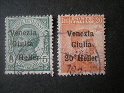 VENEZIA GIULIA, 1919, Sass. N. 30/31, 5H Su 5c E 20Hsu 20c, Usati - 8. WW I Occupation