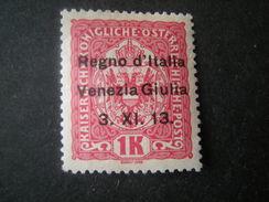 VENEZIA GIULIA, 1918, Austria, Sass N. 14, 1 K, Soprast., MNH**, TTB, OCCASIONE - 8. Occupazione 1a Guerra