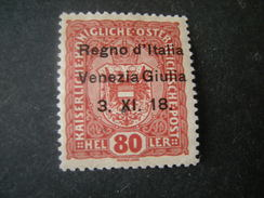 VENEZIA GIULIA, 1918, Austria, Sass N. 13, 80 H, Soprast., MLH*, TTB, OCCASIONE - 8. Besetzung 1. WK