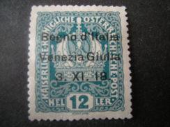 VENEZIA GIULIA, 1918, Austria, Sass N. 5, 12 H, Soprast., MNH**, Leggera Piega Angolare - 8. Besetzung 1. WK