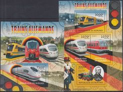 BURUNDI 2012 - Transports, Trains Allemands - 4 Val + BF Neufs // Mnh - Burundi