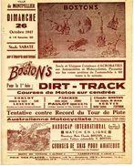 """Programme Des Courses Et Spectacles Acrobatiques De Motos Et Autos, équipe """"Les BOSTON'S"""" à Montpellier, Le 26/10/1947 - Habillement, Souvenirs & Autres"""