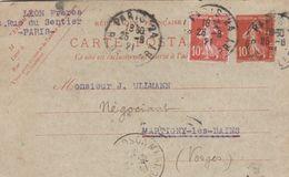 Carte Commerciale 1921 / Entier + Complémént / LEON Frères / Rue Du Senrtier / Confection / PARIS - Cartes