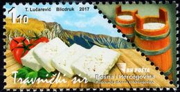 Bosnia & Herzegovina - Sarajevo - 2017 - Traditional Food - Travnicki Cheese - Mint Stamp - Bosnie-Herzegovine