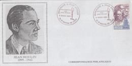 Enveloppe   Hommage  à   Jean  MOULIN   SAINT  MARTIN  DE  CRAU   1993 - Guerre Mondiale (Seconde)