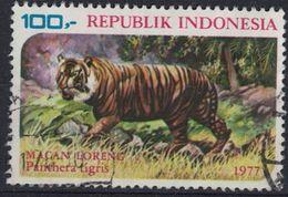 Indonésie 1977 Oblitéré Rond Used Animaux Fauves Tigre Panthera Tigris SU - Indonesia