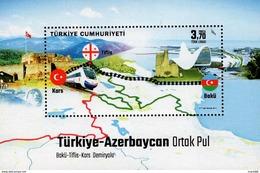 Turkey - 2017 - Baku - Tbilisi - Kars Railway - Joint Issue With Azerbaijan - Mint Souvenir Sheet - 1921-... Republik
