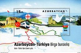 Azerbaijan - 2017 - Baku - Tbilisi - Kars Railway - Joint Issue With Turkey - Mint Souvenir Sheet - Aserbaidschan