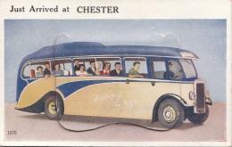 Just Arrived At CHESTER - Autobus - Laporellokarte Mit 10 Ausklappbaren Bildern Aus Chester - Chester