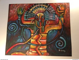 """B. LONG"" HARRY BELONG English Artist 20/21 C. Oil Canvas Painting (South American Maya Art Kunst Mexico Ölbild Peinture - Oelbilder"