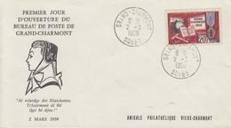 Enveloppe  1er  Jour  Ouverture  Du   Bureau  De  Poste   De   GRAND  CHARMONT   2   Mars  1959 - Poste