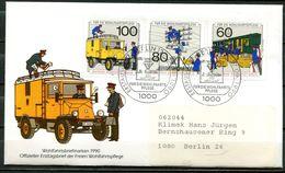 """First Day Cover Germany Berlin 1990 Mi.Nr.876/78""""Geschichte Der Post U.Telekom,Wohlfahrt,Bahnpost,Elektropaketauto""""1 FDC - Posta"""