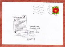 Zurueck Nicht Abgeholt Lagerfrist Abgelaufen, EF Pfingstrose, Olching Ueber Briefzentrum 82 Nach Mainz 2015 (44784) - [7] Repubblica Federale