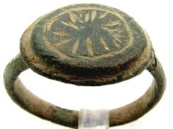 Medieval Viking Era Bronze Ring   With Sun Symbol* - - Inner Diameter: 18 Mm - Archaeology