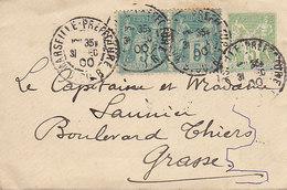 Enveloppe Entier 5 Cts Sage + 2 X 5cts Sur Lettre De 1900 - Entiers Postaux