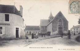 MEZIERES SOUS BALLON (café BESNIER Attelage église ) Circulée Timbrée 1906 - Autres Communes