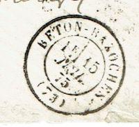 SEINE ET MARNE 77 BETON BAZOCHE Env Vide TAD 17 Du 15/07/1875 GC 6422 Sur N° 60  SUP Ind 19 - Marcofilia (sobres)