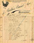 Horlogerie, Coutellerie, Quincaillerie, Fumisterie, Maison J. BARTHES, BRUNET Ainé, CASTELNAUDARY, Rue Gambetta, 1917 - Frankreich