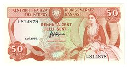 Cyprus 50 Sent 01/10/1988 UNC - Cipro
