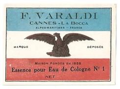ETIQUETTE  F. VARALDI  CANNES-LA-BOCCA - ESSENCE POUR EAU DE COLOGNE N°1 - Etiquettes