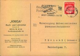 1933, Die Seltenere Rote 15 Pfg Hindenburg Als EF Auf Auslandskarte Ab BERLIN SW 11 * C 29.10.33 Nach Zürich. - Deutschland