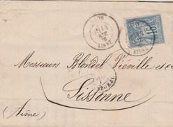 Yvert 90 Sage Lettre LAON 140/10/1878 Pour  Sissonne Aisne - Poststempel (Briefe)