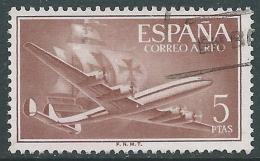 1955-56 SPAGNA POSTA AEREA USATO QUADRIMOTORE 5 P - R11-6 - Usati
