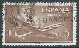 1955-56 SPAGNA POSTA AEREA USATO QUADRIMOTORE 5 P - R11-8 - Usati