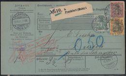DR Paketkarte Mif Minr.55,58,61 Frankfurt 13.11.01 Gel. In Schweiz - Briefe U. Dokumente