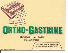 Buvard Ortho Gastrine, Bourget Citraté. Laboratoires Le Blond, Puteaux. (Pharmacie) (Petit Format) - Produits Pharmaceutiques