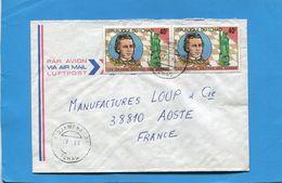 Marcophilie-lettre-TCHAD- >France-cad 1983+2 Stamps--N°399K Paul MORPHY-Grand Maitre D'échecs - Tchad (1960-...)