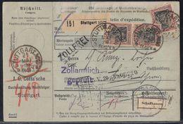 DR Paketkarte Mef Minr.3x 91II Stuttgart 21.5.20 Gel. In Schweiz Perfins JGC - Deutschland