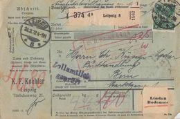 DR Paketkarte Mif Minr.2x 163,2x 176,191,193 Leipzig 24.2.22 Gel. In Schweiz Perfins K.F.K. - Deutschland