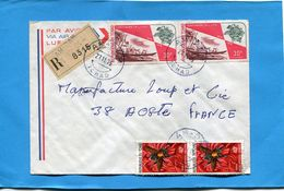 Marcophilie-lettre REC -TCHAD- >France-cad AM DAM  1975-4- Stamps--N°A 152 U P U Piroguier+293 Insect Diptere - Chad (1960-...)