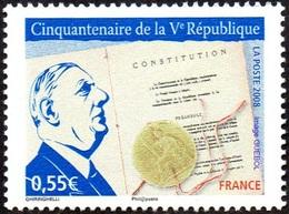 France Célébrité N° 4282 ** Anniversaire De La Cinquième République - Charles De GAULLE - De Gaulle (General)