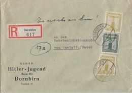 DR R-Brief Dienst Mif Minr.D148, 2x D152 Dornbirn 9.2.44 - Dienstpost