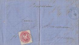Preussen Brief EF Minr.17 Blauer K1 Ottersberg 7.12. Gel. Nach Verden - Preussen