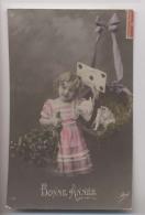 Fillette - 1912 - Panier - COCHON - LETTRE - Bonne Année - Colorisée - Phantasie