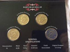 Australia 4x 1 Dollar 2011 Ram's Head Four Coin Mintmark And Privy Mark Set UNC - Mint Sets & Proof Sets