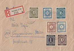 SBZ R-Brief Mif Minr.48A,53,56, Gemeina. Minr.911,918,923,928 Dresden 6.3.46 - Sowjetische Zone (SBZ)