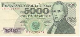 BILLETE DE POLONIA DE 5000 ZLOTYCH DEL AÑO 1988 EN CALIDAD EBC (XF) (BANKNOTE) - Polonia