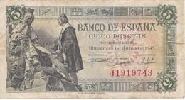 BILLETE DE ESPAÑA DE 5 PTAS DEL 15/06/1945 SERIE J CALIDAD RC  (BANKNOTE) - 5 Pesetas