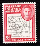 Falkland Islands Dependencies 1946 MNH Scott #1L3 2p Map - Falkland