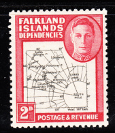 Falkland Islands Dependencies 1946 MH Scott #1L3 2p Map Variety Gap In 80th Parallel - Falkland