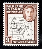 Falkland Islands Dependencies 1946 MNH Scott #1L7 9p Map - Falkland